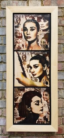Audrey Cover Girl Triptych Original Variation by Rob Bishop